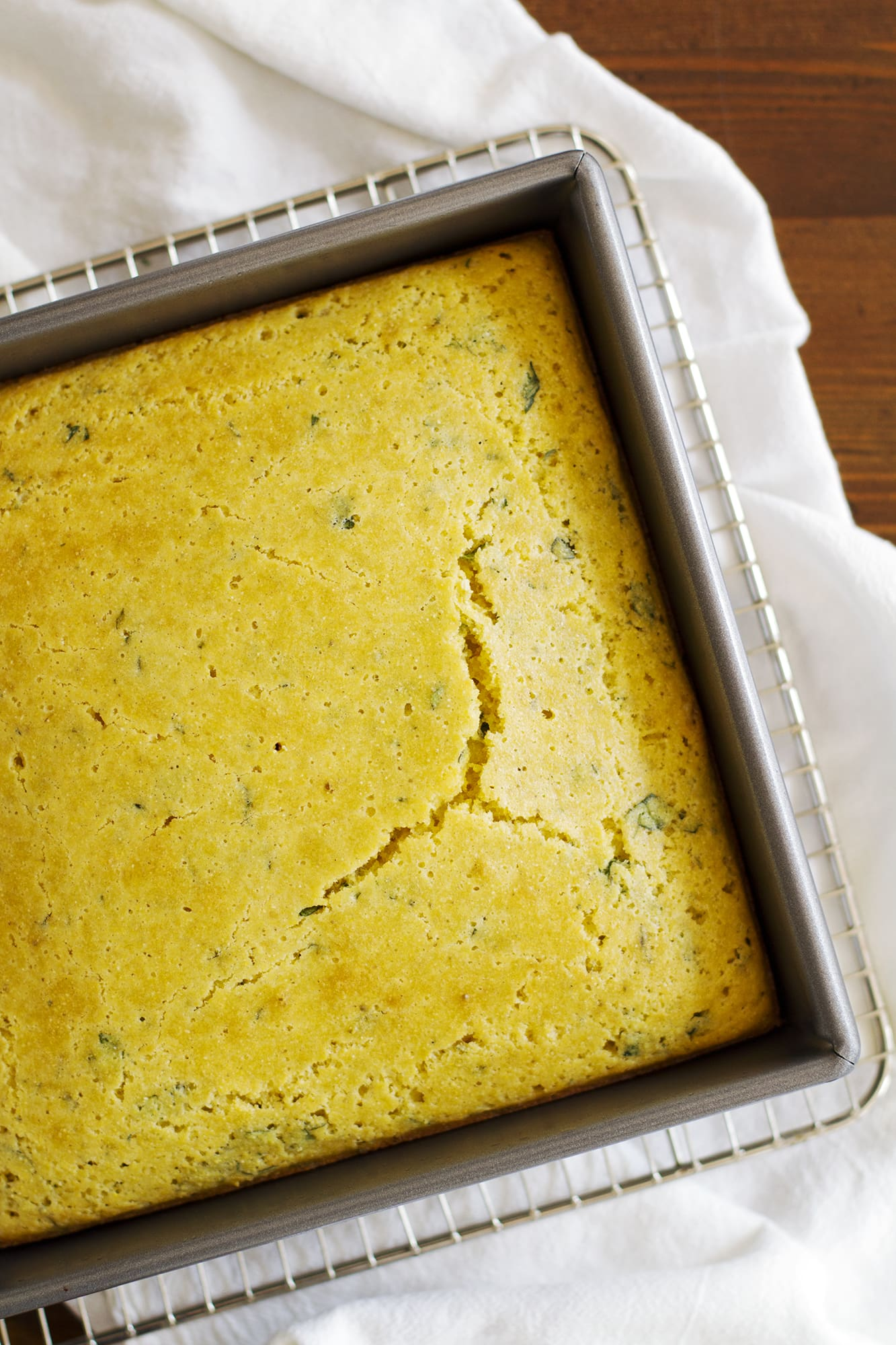 herb cornbread in baking dish