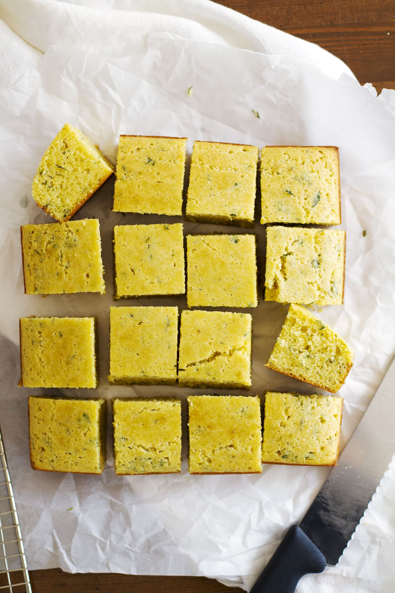 sliced herb cornbread