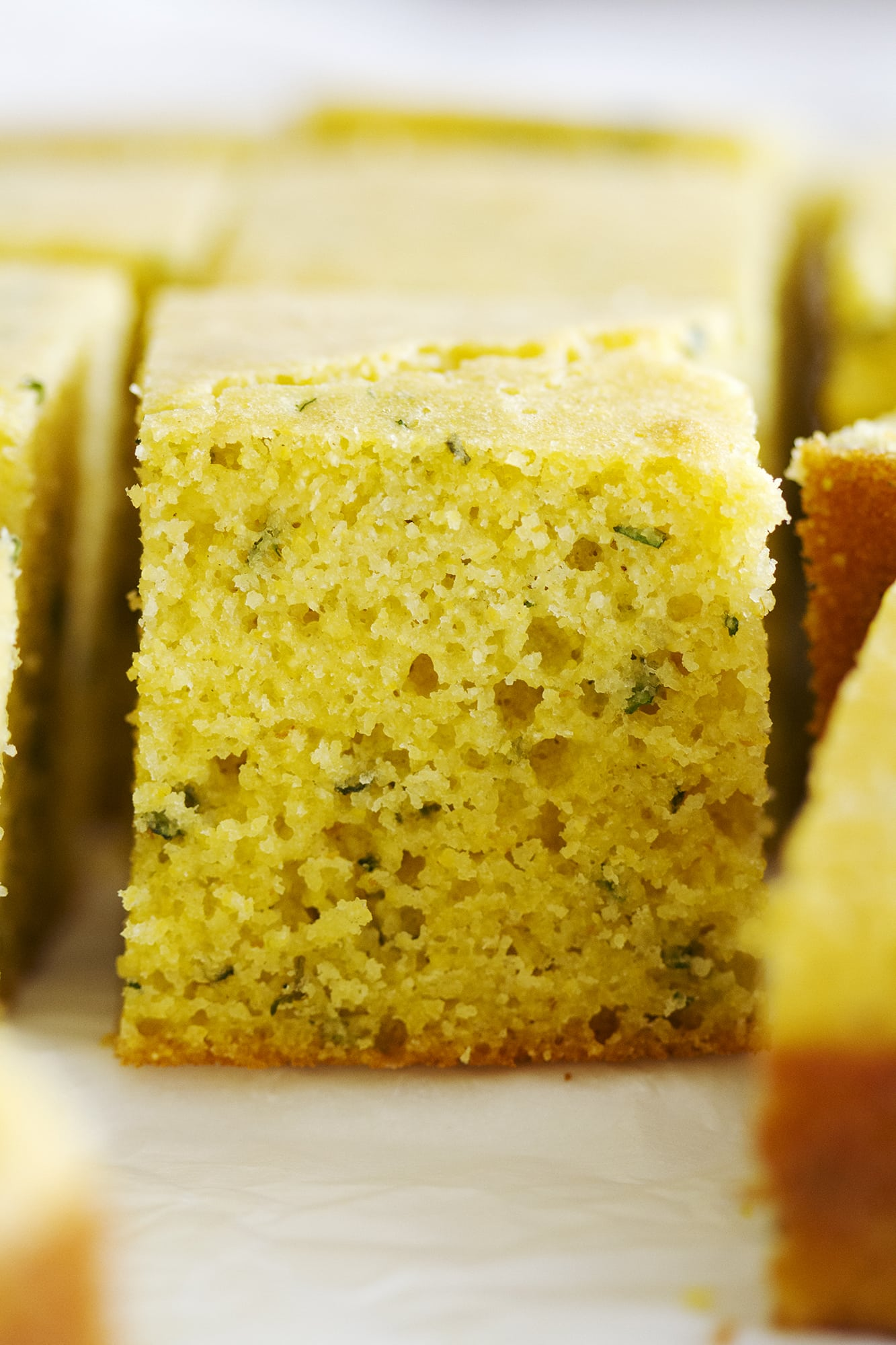 close up herb cornbread