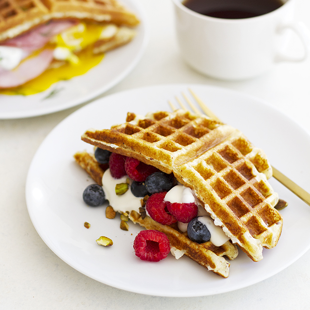 Sweet and Savory Gluten Free Waffle Breakfast Sandwiches