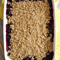 dairy free fruit crisp in baking dish