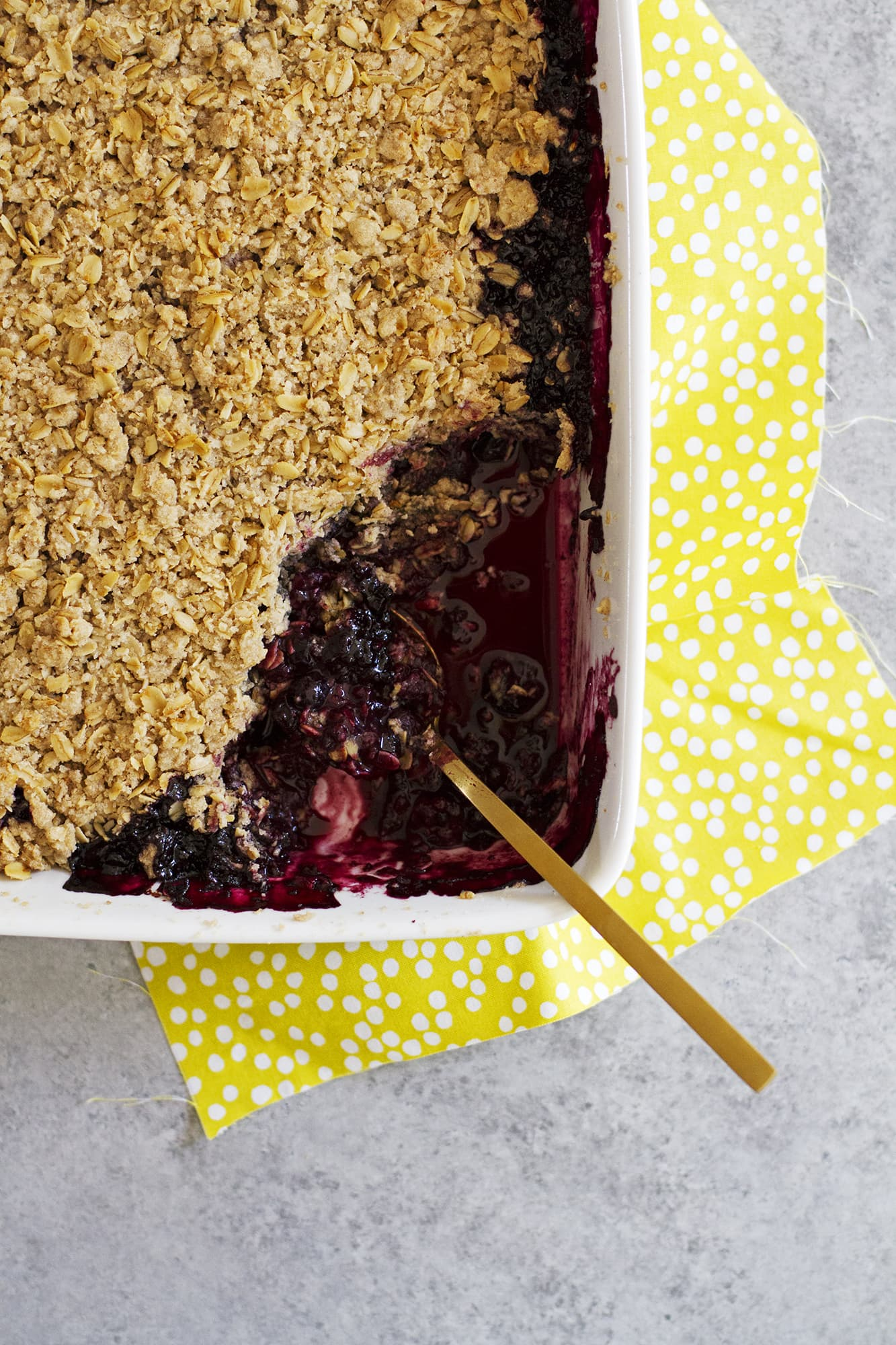 servings taken from dairy free fruit crisp baking dish