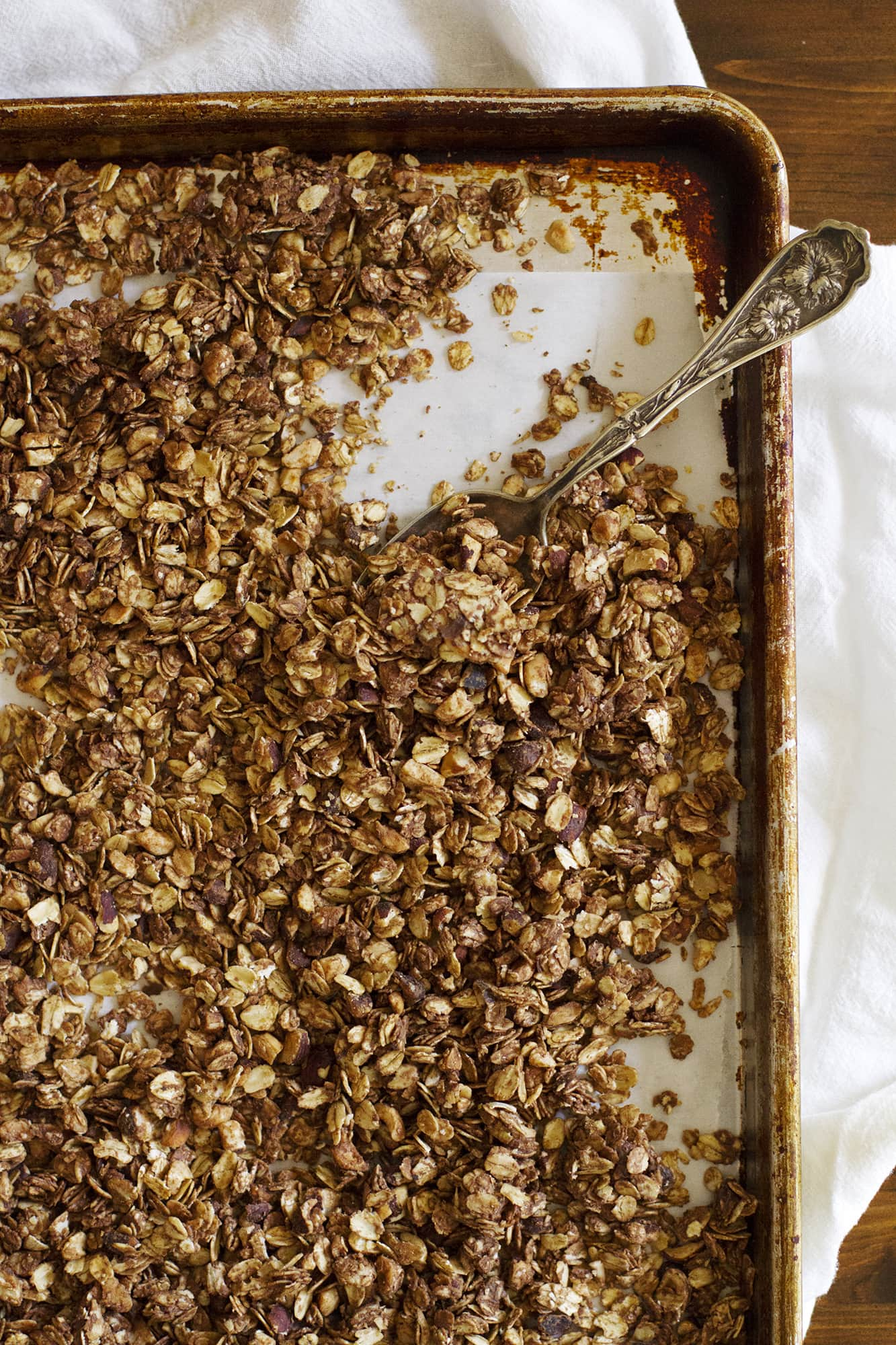 nutella granola on a baking sheet