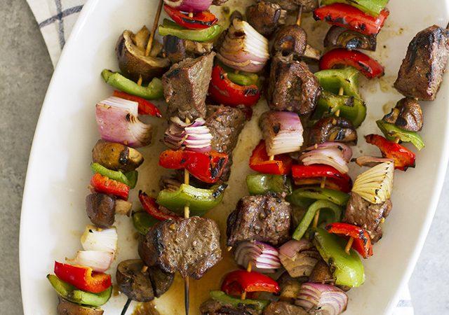 grilled steak mushroom kabobs