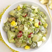 green goddess potato salad in a bowl