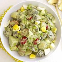 green goddess potato salad in bowl