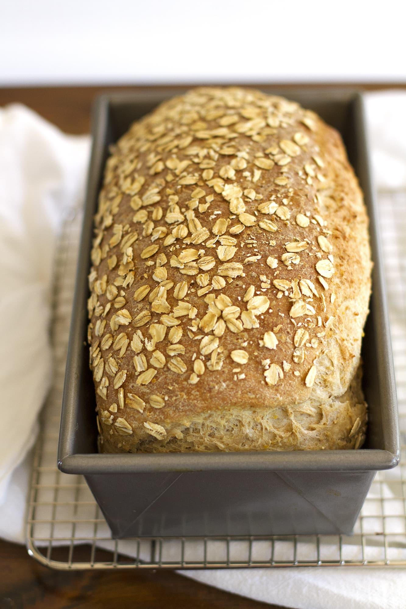 multigrain sandwich loaf in pan