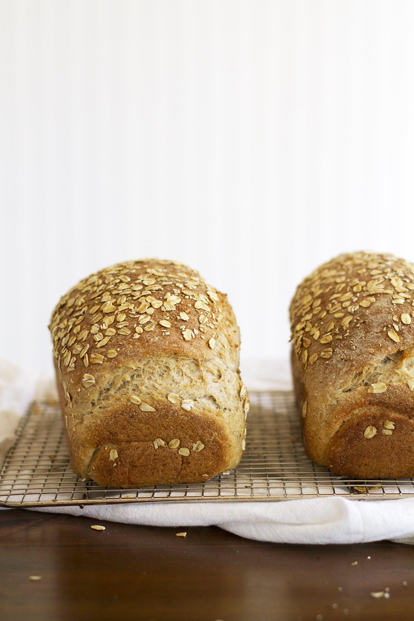 two loaves of multigrain sandwich bread