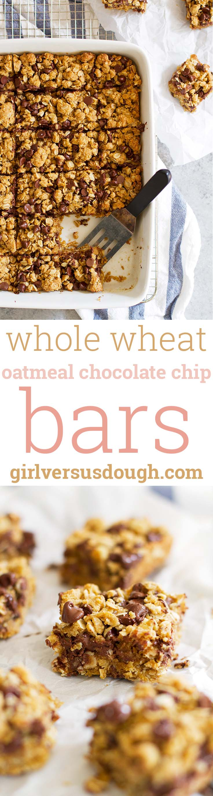 Whole Wheat Oatmeal Chocolate Chip Cookie Bars -- Delightful soft and chewy bites of oatmeal and melty chocolate with a little virtue from white whole wheat flour. girlversusdough.com @girlversusdough