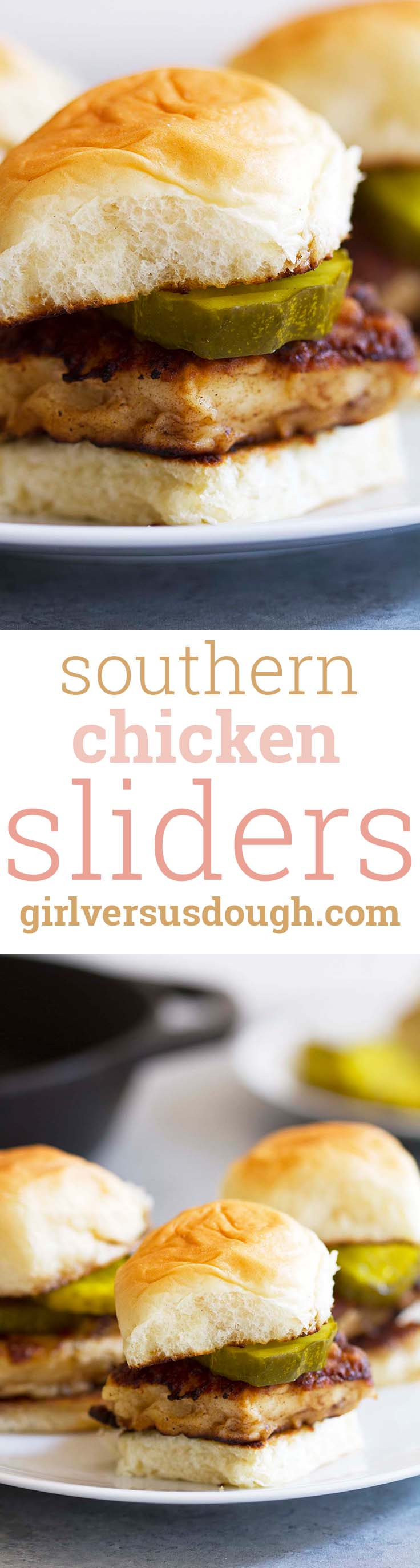 Five Ingredient Southern Style Chicken Sliders -- crispy fried chicken with bread and butter pickles on sweet slider rolls. An easy, quick and delicious dinner or game day food! girlversusdough.com @girlversusdough