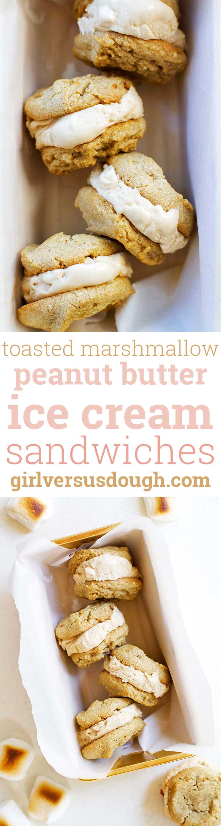 Toasted Marshmallow Peanut Butter Ice Cream Sandwiches -- Homemade toasted marshmallow peanut butter ice cream and soft peanut butter cookies sandwiched into one delicious treat. girlversusdough.com @girlversusdough