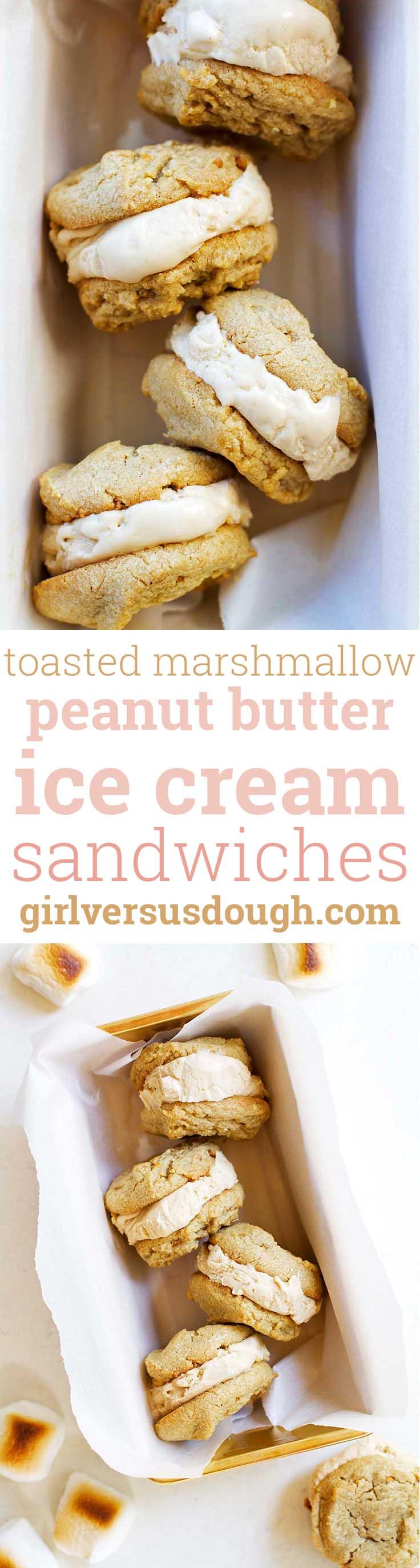Toasted Marshmallow Peanut Butter Ice Cream Sandwiches -- Homemade toasted marshmallow peanut butter ice cream and soft peanut butter cookies sandwiched into one delicious treat. girlversusdough.com @girlversusdough