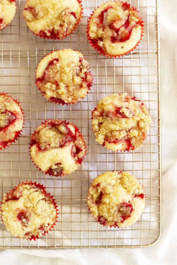 strawberry crumble muffins on cooling rack