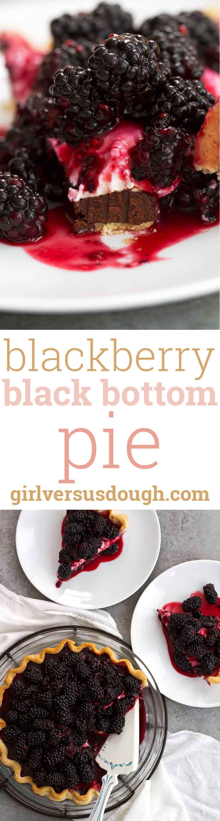 Blackberry Black Bottom Pie -- Layers of dark chocolate, cheesecake and fresh blackberry compote make up this delicious variation on a classic dessert. girlversusdough.com @girlversusdough