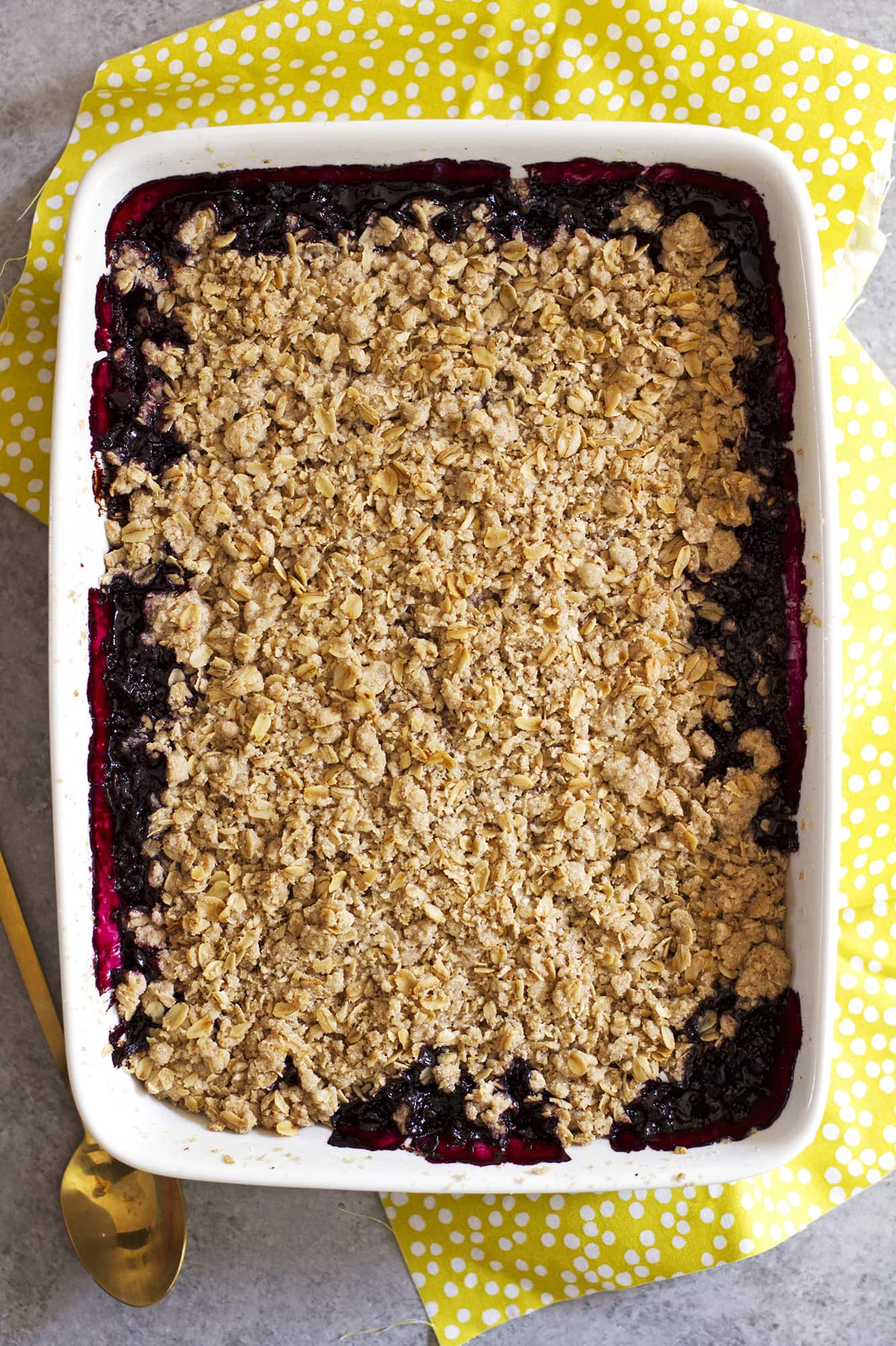 dairy free fruit nut crisp in baking dish