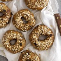 chocolate chip muesli bagels on kitchen towel