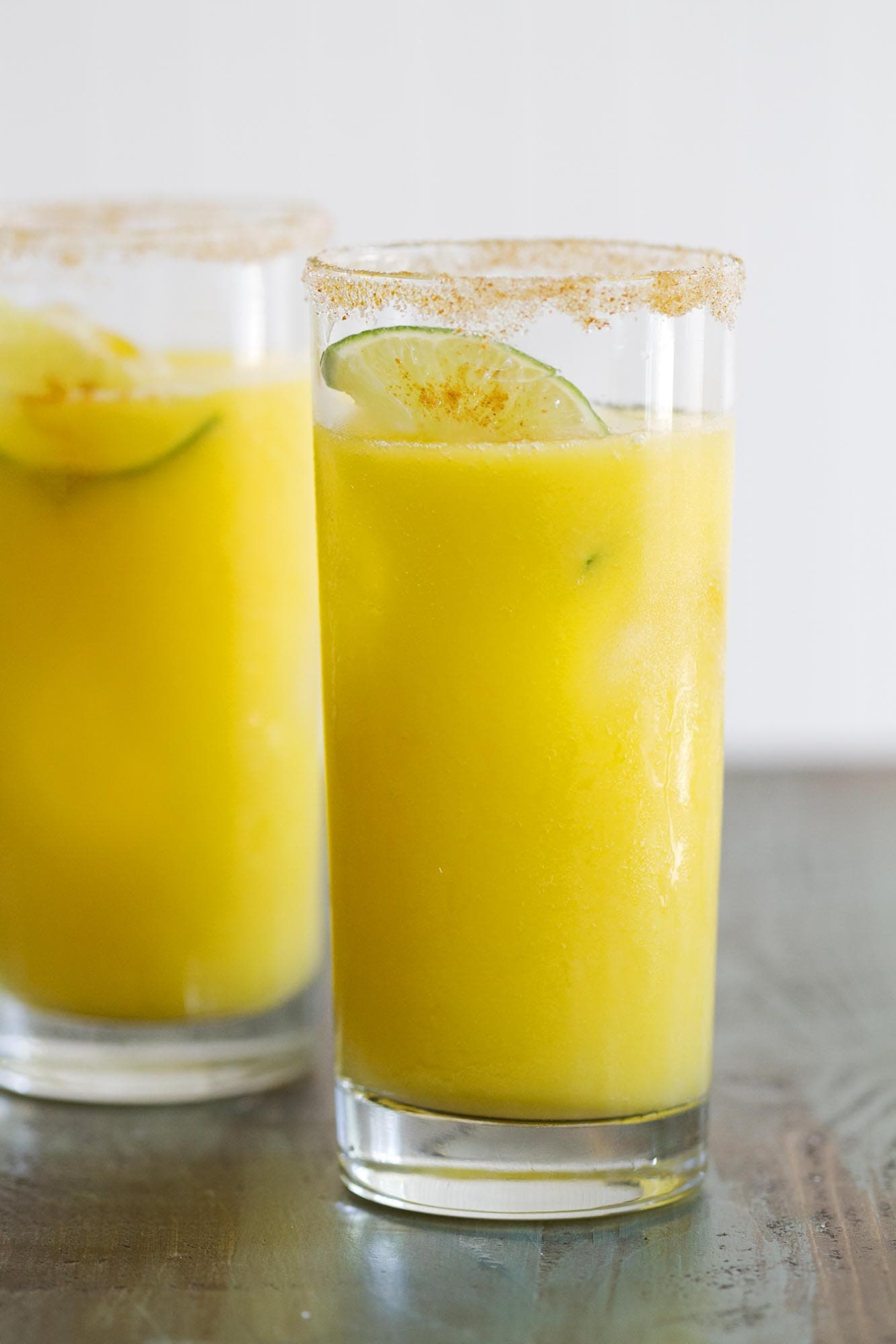 sparkling mango chili lime agua fresca in glasses