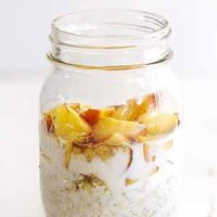 peaches and cream overnight oats in glass jar