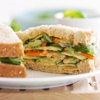 spicy Thai veggie sandwich on plate