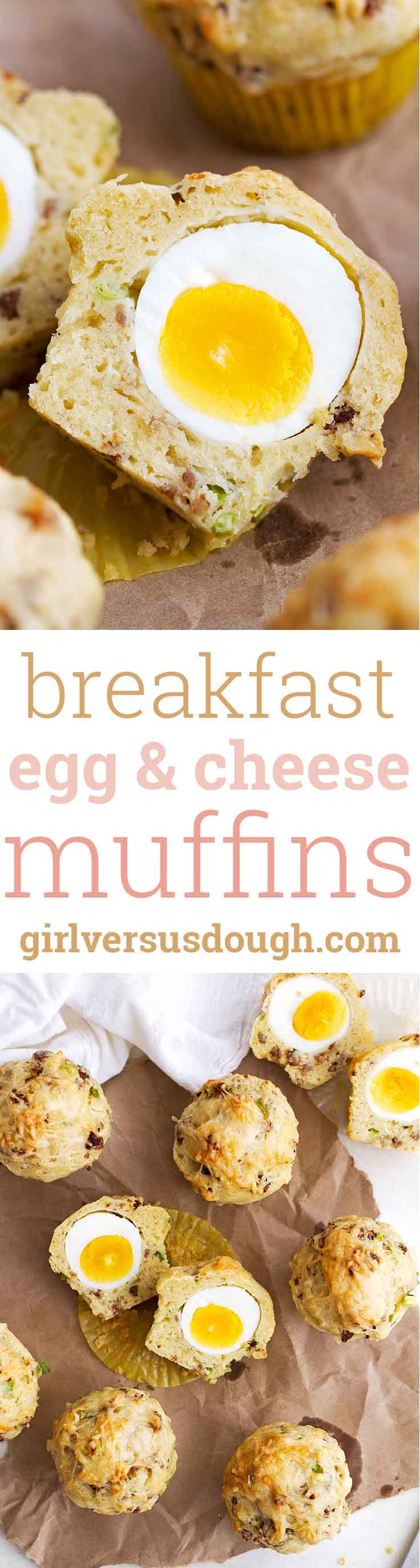 Breakfast Egg and Cheese Muffins -- An egg baked right into a flavorful sausage, scallion and cheese-stuffed muffin. The perfect to-go breakfast. girlversusdough.com @girlversusdough