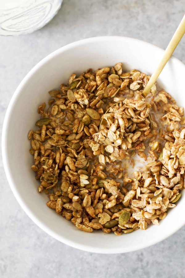 pumpkin spice puff cereal in bowl