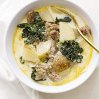 bowl of slow cooker zuppa toscana