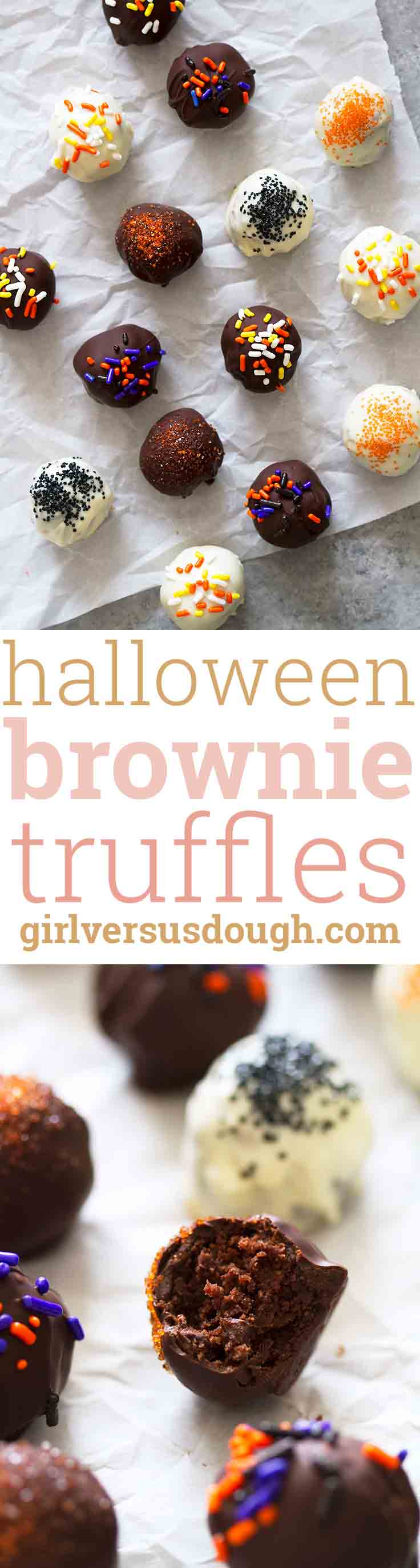 Halloween Brownie Truffles -- easy and decadent homemade truffles with fudgy brownie centers and spooky sprinkles. girlversusdough.com @girlversusdough