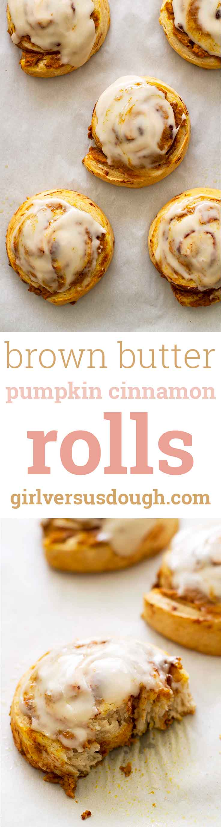 Brown Butter Pumpkin Cinnamon Rolls -- Just four ingredients make these pumpkin pie-flavored cinnamon rolls easy and delicious! girlversusdough.com @girlversusdough