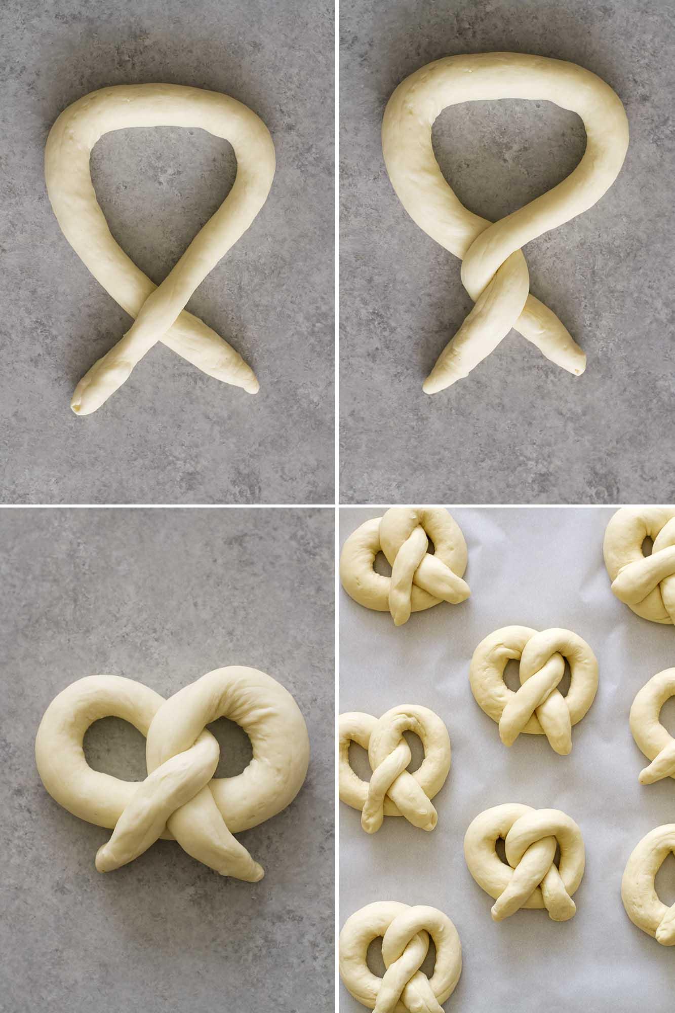homemade soft pretzel dough twisting