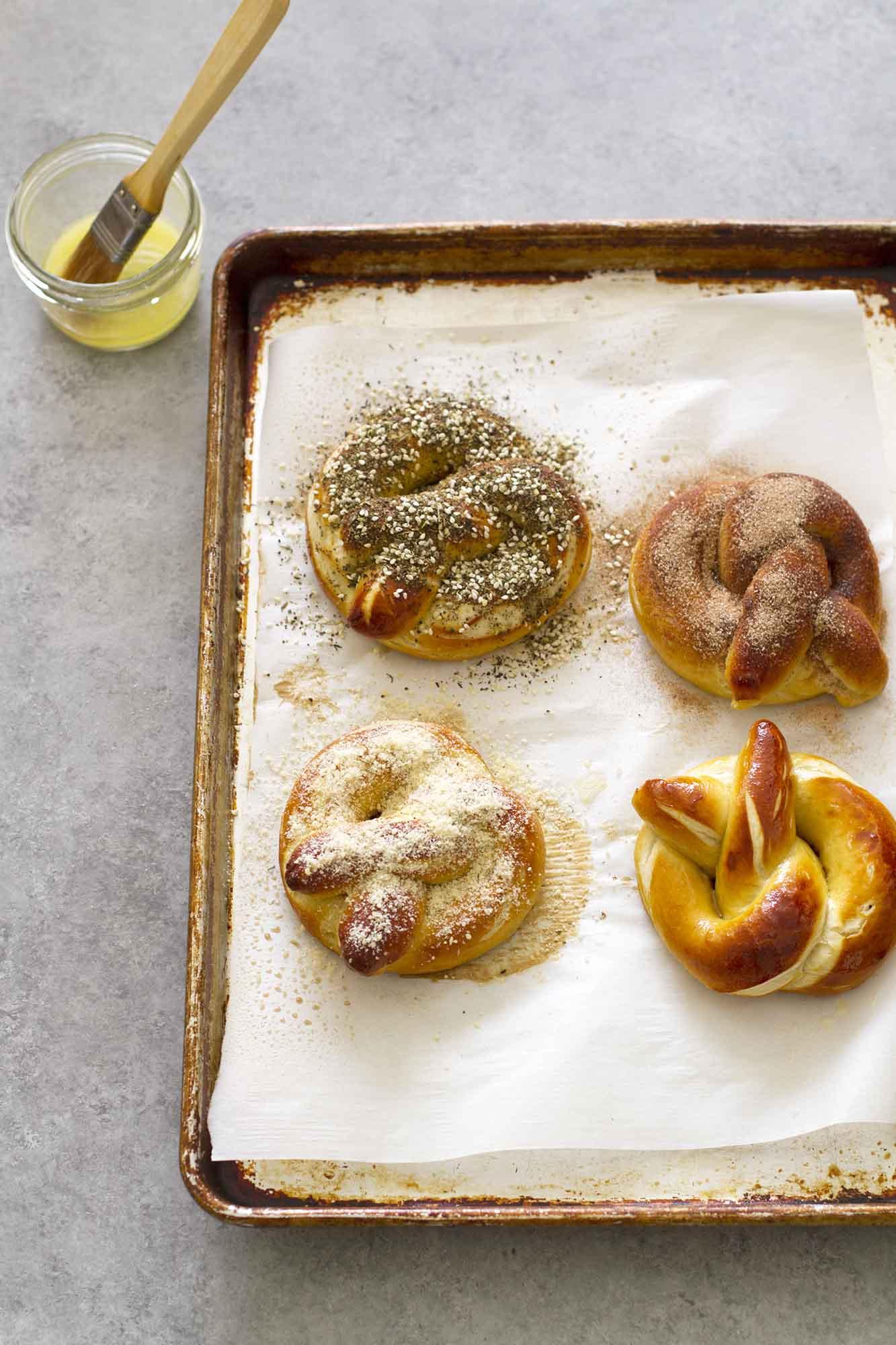 homemade soft pretzels on baking sheet