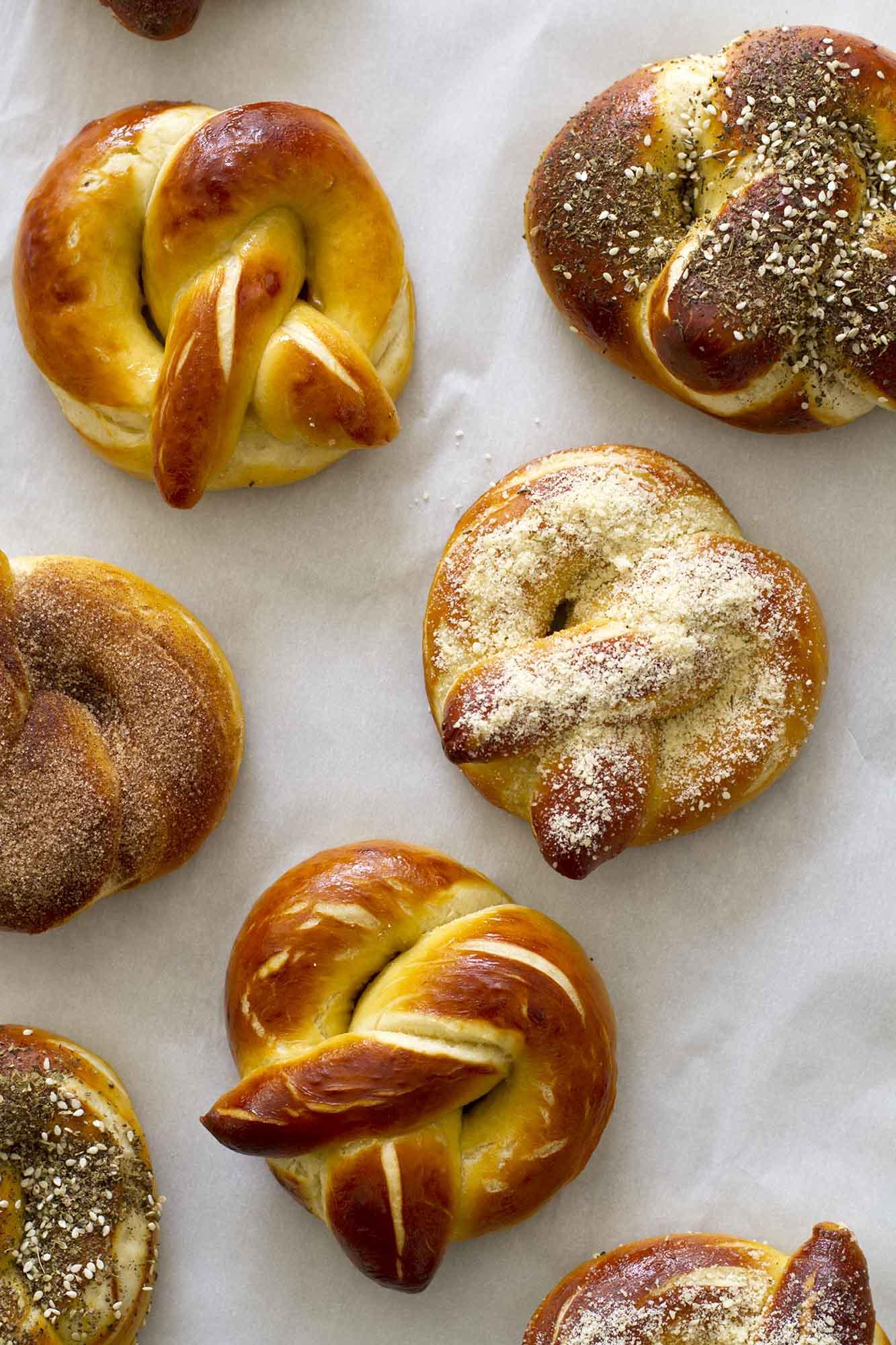 close up homemade soft pretzels