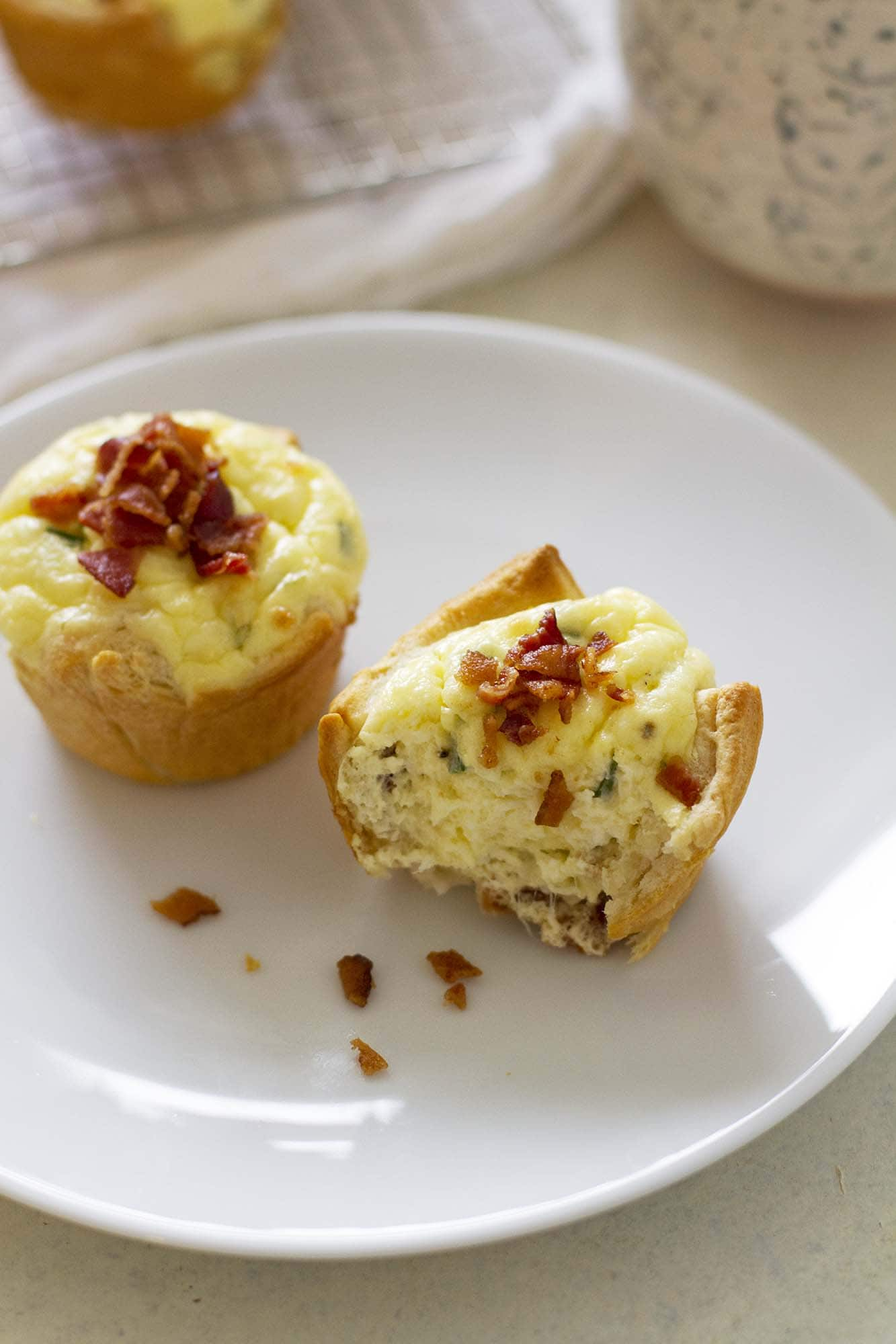 bacon quiche crescent cup on a plate
