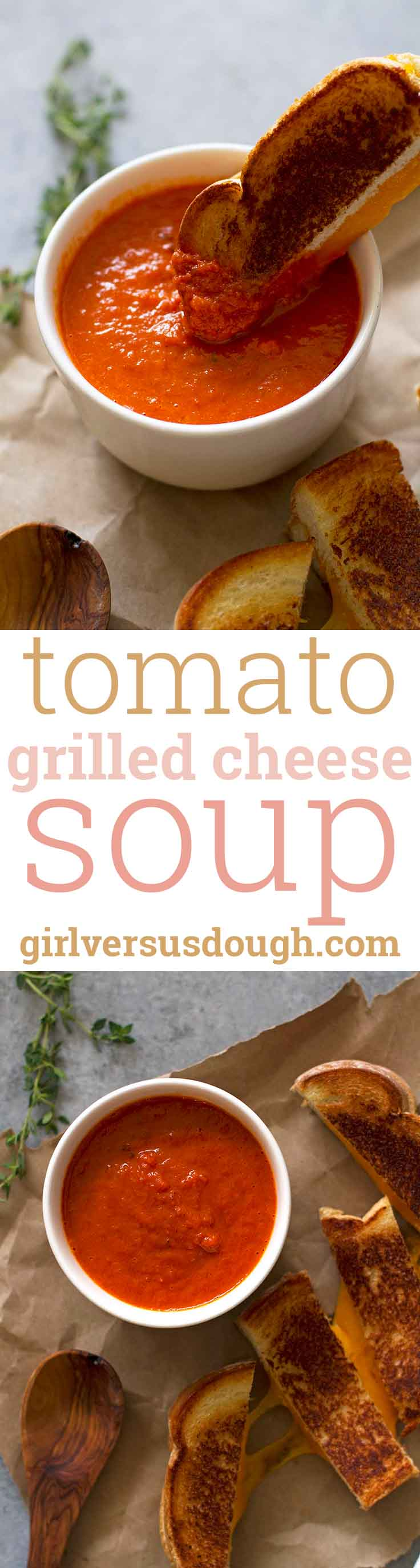 Tomato Grilled Cheese Soup -- the perfect simple and satisfying homemade tomato soup to pair with grilled cheese for the ultimate comfy-cozy meal. girlversusdough.com @girlversusdough
