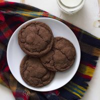 chocolate cardamom cookies on a plate