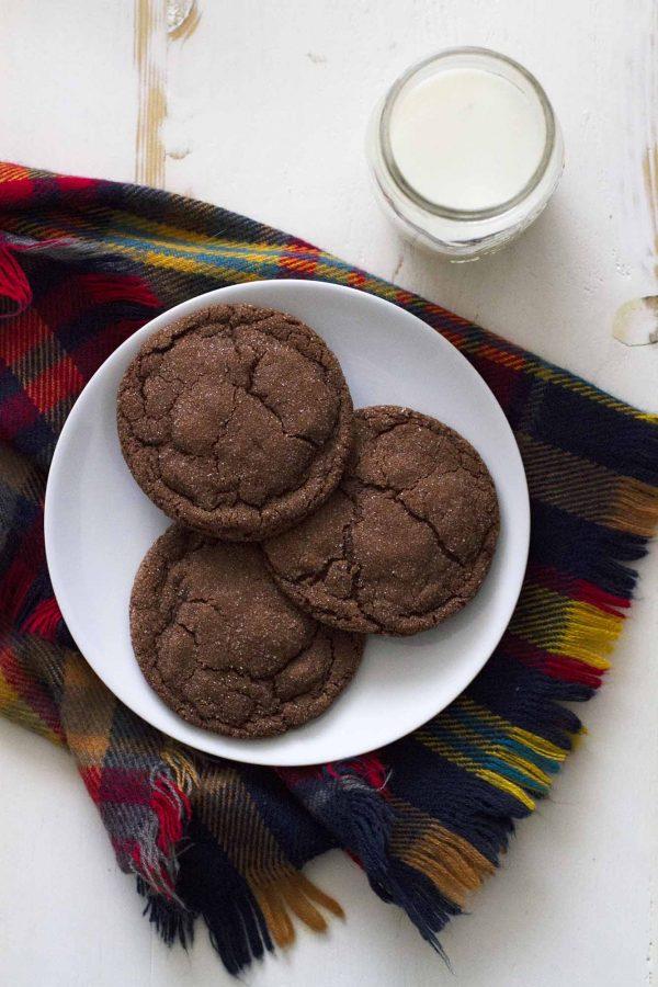 chocolate cardamom cookies on a plate