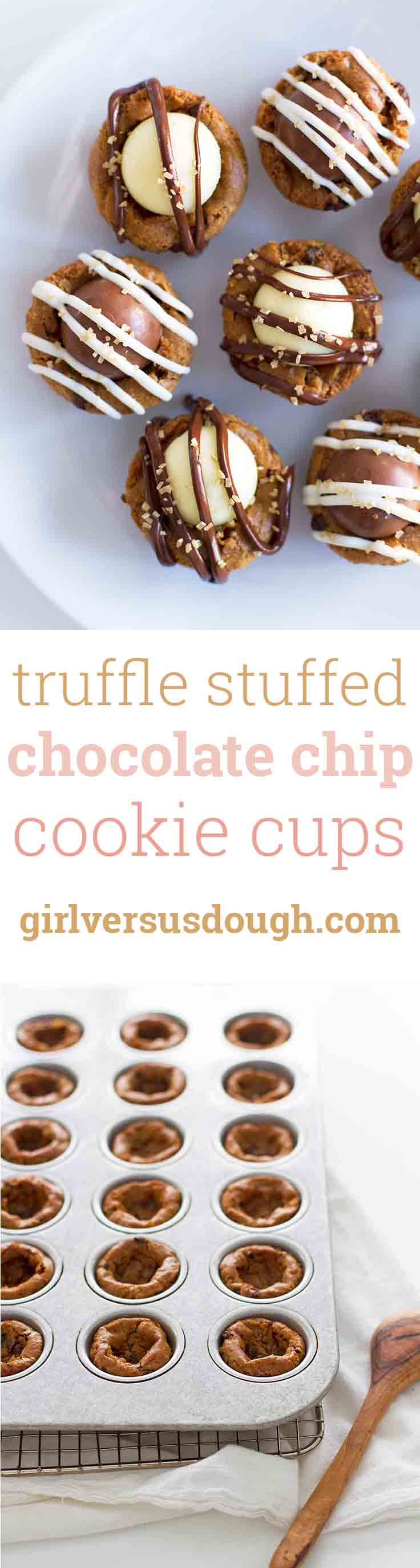 Truffle Stuffed Chocolate Chip Cookie Cups -- gluten free chocolate chip cookies stuffed with melted chocolate and chocolate truffles for a decadent, bite-size treat that's perfect for holiday parties and cookie exchanges! girlversusdough.com @girlversusdough