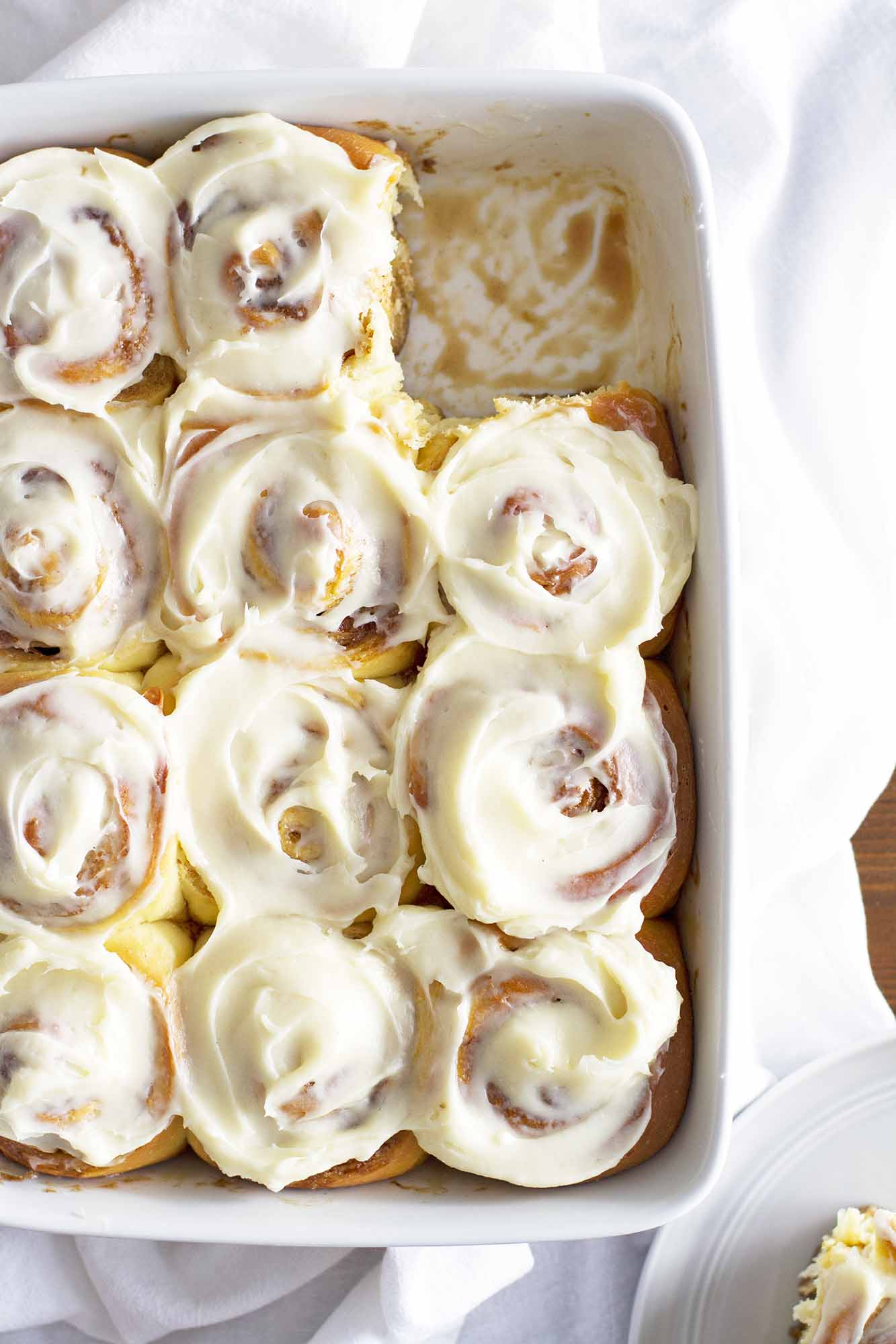 overnight cinnamon rolls in a baking dish
