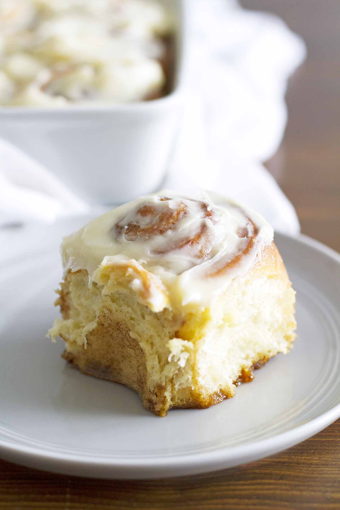 overnight cinnamon roll on a plate