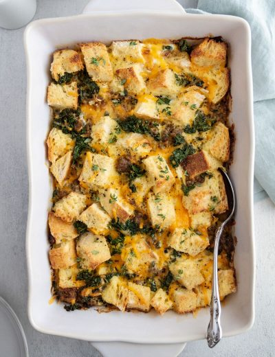 not your mom's egg casserole in a baking dish