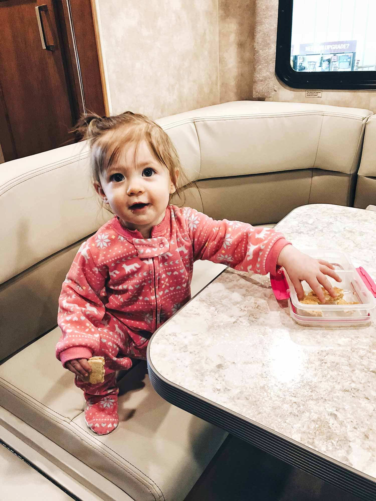 baby in rv dinette