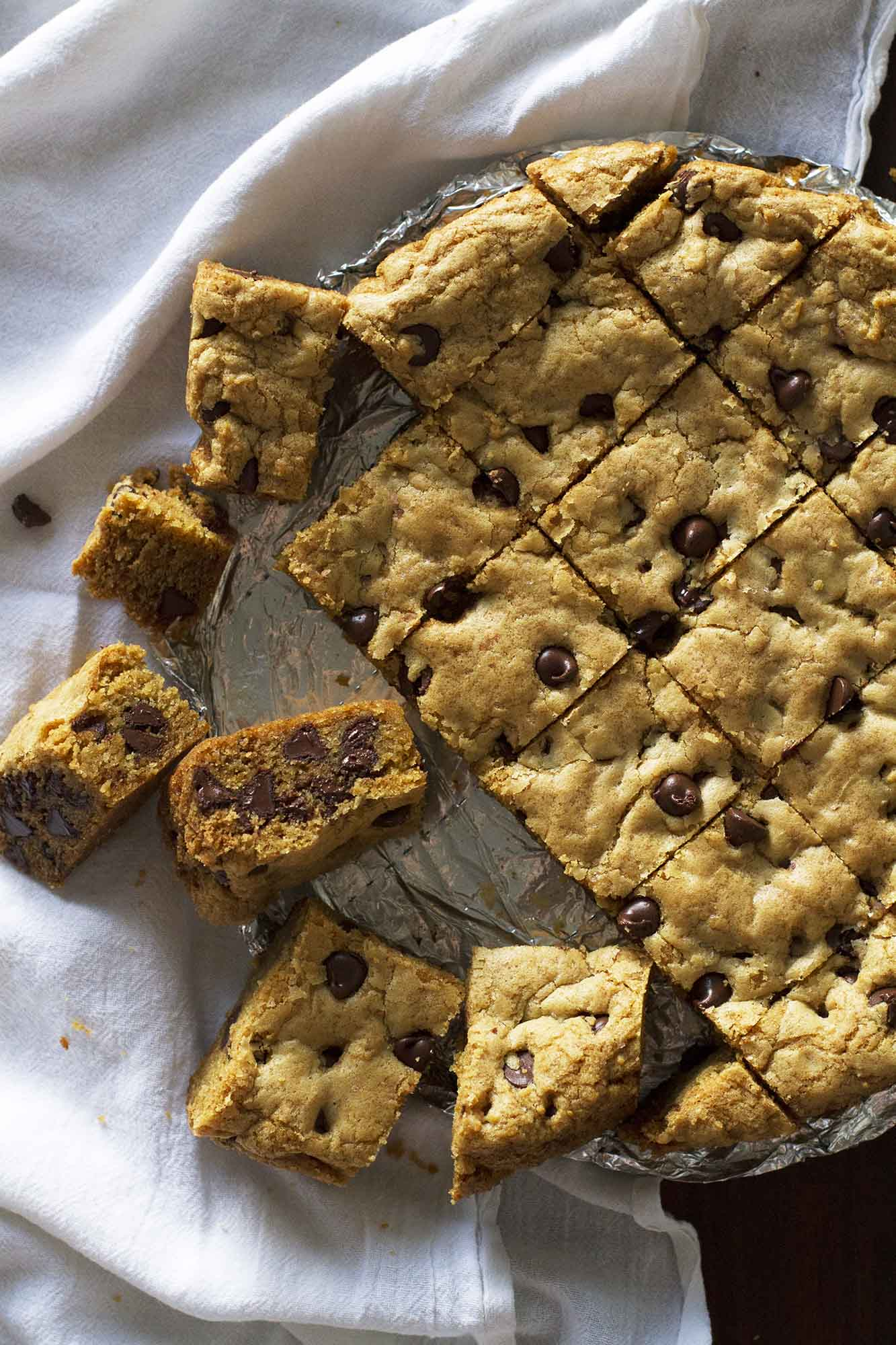 sliced giant chocolate chip cookie