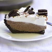 slice of no bake french silk oreo pie