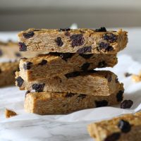 stack of no bake blueberry peanut butter granola bars