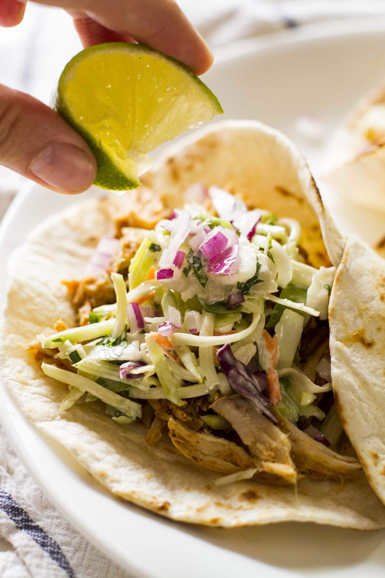 close up of slow cooker green chile pork taco