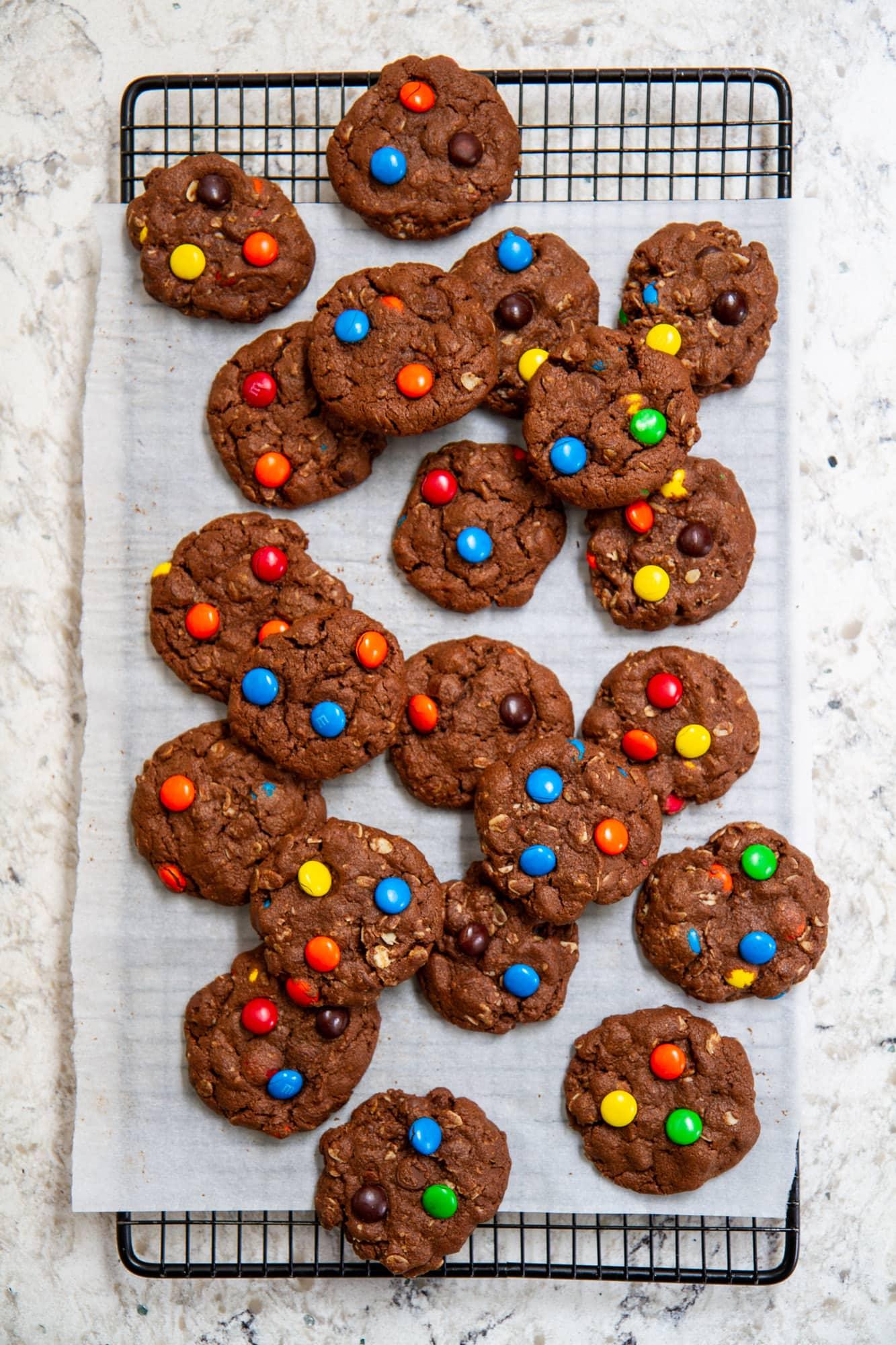 brownie monster cookies on cooling rack