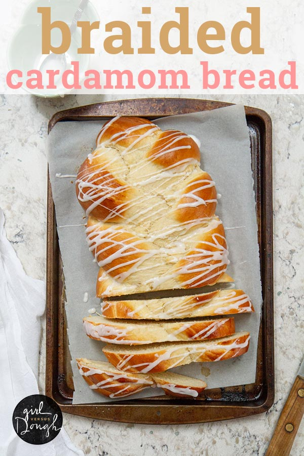 Braided Cardamom Bread or Finnish Pulla -- this delicately spiced bread is soft and full of flavor with a hint of sweetness from the icing drizzle. @girlversusdough #girlversusdough #holidaybaking #Scandinavian #breadrecipe