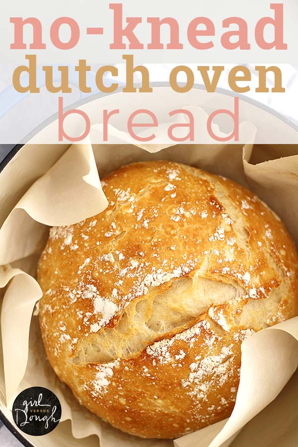 No Knead Dutch Oven Bread -- this is the easiest bread you'll ever bake! No kneading, no fuss, just delicious carbs. girlversusdough.com @girlversusdough #girlversusdough #nokneadbread