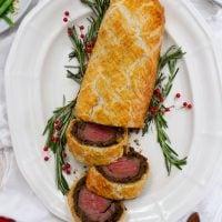 beef wellington on serving platter