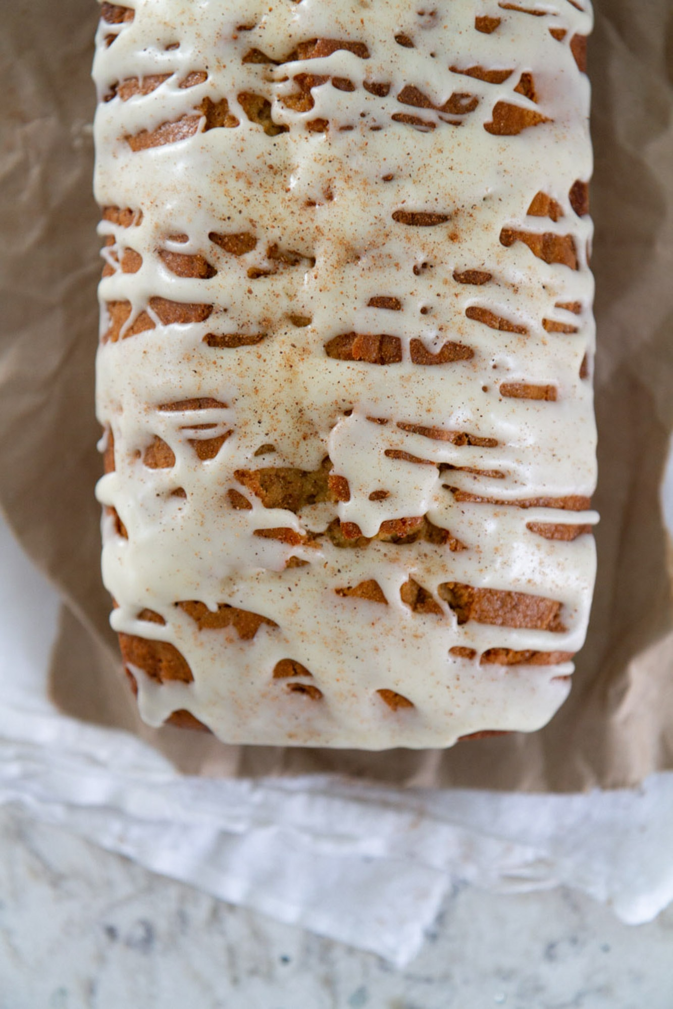 top of eggnog bread with spiced rum glaze