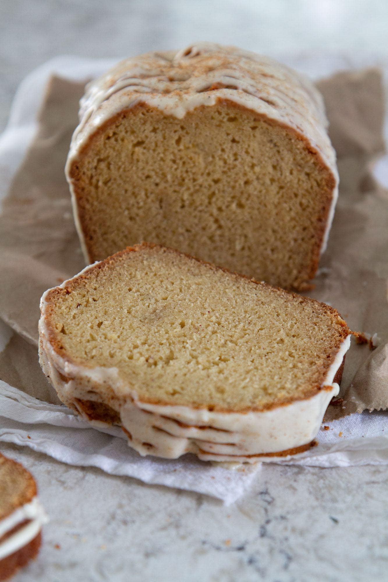 sliced eggnog bread with spiced rum glaze